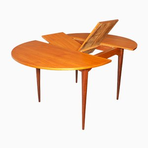 Mid-Century Circular Teak Extendable Dining Table, 1960s