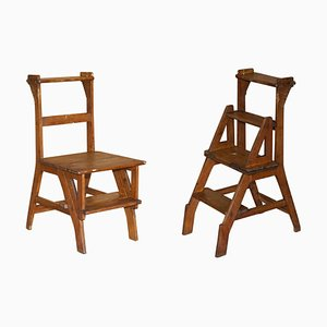Antique Victorian English Oak Library Steps & Metamorphic Chair, 1880s