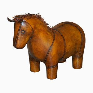 Brown Leather Horse Pony Footstool Ottoman