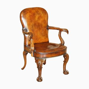 Vintage Eagle Armed Claw & Ball Feet Brown Leather Armchair
