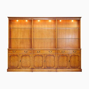 Burr Yew Wood Triple Bank Library Display Bookcase with Lights from Bradley Furniture