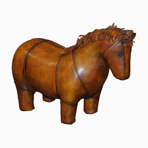 Brown Leather Horse Footstool