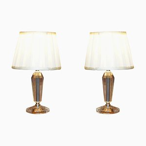Cut Glass Small Table Lamps with Shades, Set of 2