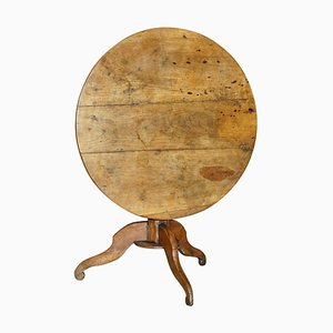 Antique Fruitwood Cricket Table with 3 Plank Tilt Top, 1800s