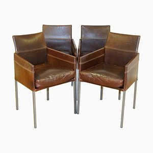 Vintage Brown Leather and Steel Dining Chair by Karl Friedrich Forster