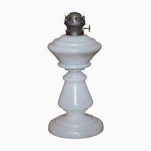 Viktorianischer Opalglas Öllampenfuß mit weißem Glas & originaler Fassung