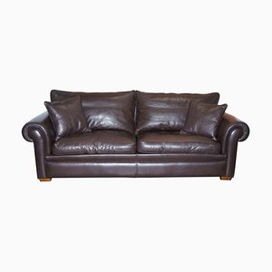 3-Seat Brown Leather & Feather Filled Sofa by Duresta