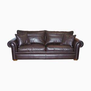3-Sitzer Sofa aus braunem Leder & Federbezug von Duresta