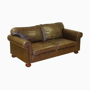 Leather 2-Seat Sofa with Duck Feather Filled Back Cushions