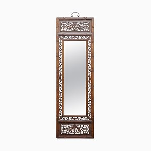 Chinesische geschnitzte hölzerne Spiegel-Tafel, die Fledermaus-Symbol des Glückes & des Glücks darstellt
