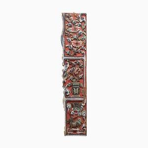 Antike viktorianische chinesische Wandtafel aus geschnitztem Holz, 1860er