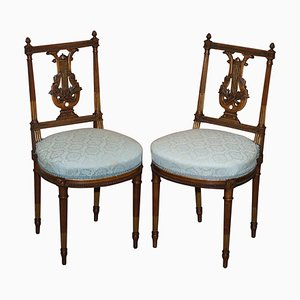 Ornate Hand-Carved Giltwood Phoenix Harp Occasional Chairs, Set of 2