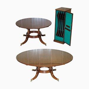Ausziehbarer runder Vintage Jupe Esstisch aus Hartholz, 2er Set