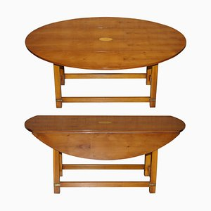 Burr Yew Wood Extendable Oval Campaign Coffee Table from Bevan Funnell