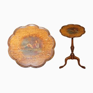 Hand-Painted Hardwood Revival Tripod Side or Wine Table