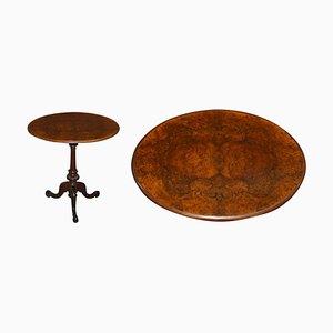 Victorian Ornately Carved Burr & Quarter Cut Walnut Oval Tripod Table