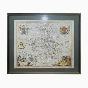 Antique Hand-Colored Print Map of Cheshire