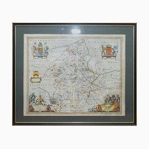 Carte du Cheshire Antique Colorée à la Main