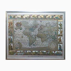 Gravure Murale Carte du Monde à la Feuille d'Argent d'après Moses Pitt