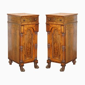 Large William IV Flamed Hardwood Side Cabinets with Campaign Drawers, 1830s, Set of 2