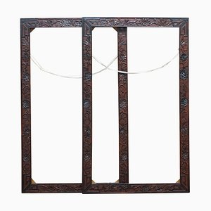 Chinese Hardwood Mirror or Picture Frames with Floral Decor, 1920s, Set of 2