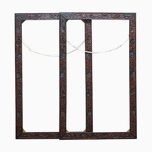 Chinesischer Spiegel oder Bilderrahmen aus Hartholz mit Blumendekor, 1920er, 2er Set