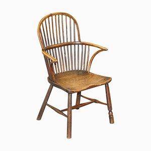 Hoop Back Windsor Armlehnstuhl aus Ulmenholz, 1800er