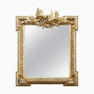 Miroir de Mariage Orné Représentant 2 Tourterelles s'embrassant avec Décor Doré