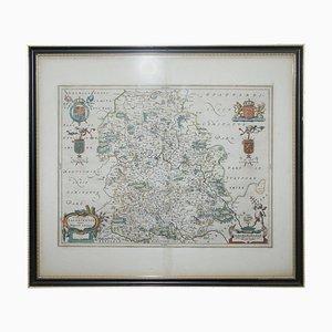 Carte Antique Staffordshire Colorée à la Main, 1645