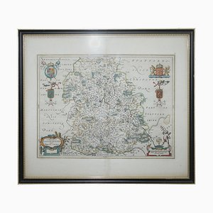 Staffordshire Hand Colored Antique Map, 1645