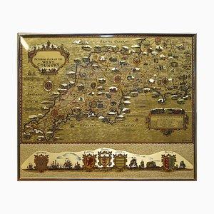 Feuille d'Or Plan Pictorial Carte du Pays de l'Ouest de l'Angleterre