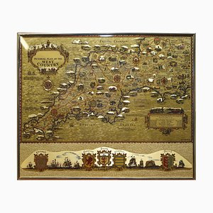 Gold Leaf Foil Pictorial Plan Map of the West Country of England