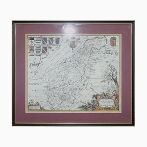 Antique Hand-Colored Print Map of Northamptonshire