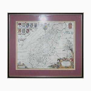 Carte Antique Colorée à la Main du Northamptonshire