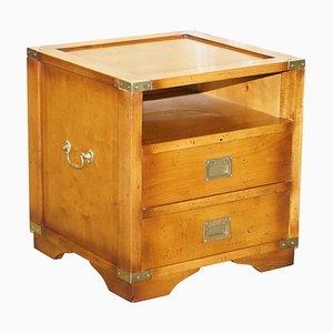 Vintage Beistell- oder Weintisch aus Eibenholz mit Schubladen
