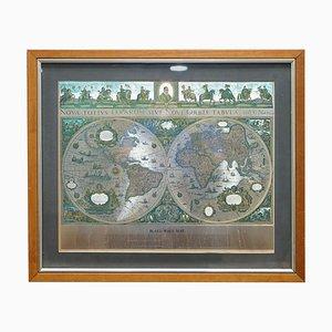 Stampa della mappa del mondo in foglia d'argento di Willem Blaeu