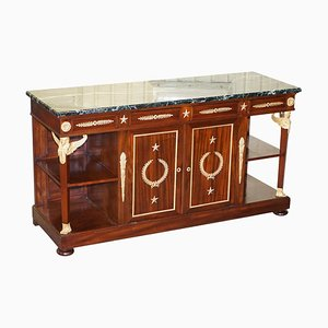 French Empire Napoleon III Style Bronze Mounted Green Marble-Topped Sideboard