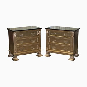 Gold Over Silver Leaf Painted Bedside Chests of Drawers, Set of 2