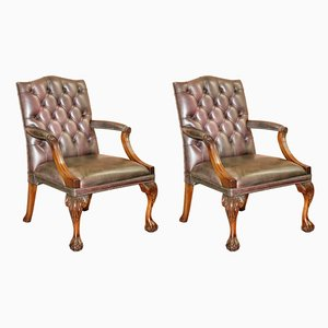 George II Gainsborough Carver Chesterfield Leather Armchairs with Claw and Ball Feet, Set of 2
