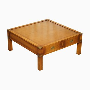 Vintage Yew Wood Military Campaign Double-Sided Coffee Table with 4 Drawers