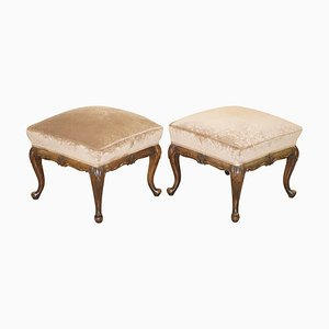 Antique Victorian Carved Hardwood Footstools, 1860s, Set of 2