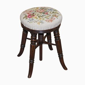 Antique Height Adjustable Piano Stool from Gillows of Lancaster