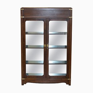 Military Campaign Display Case with Light and Mirrored Back