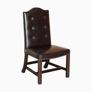Buttoned Occasional Desk Chair in Brown Leather from George Smith