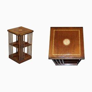 Hardwood & Satinwood Revolving Bookcase / Side End Table