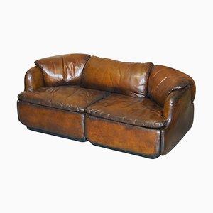 Restored Alberto Rosselli 1970s Cigar Brown Leather Saporiti Confidential Sofa