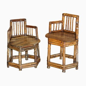 Chinese Bamboo Primitive Occasional Chairs, 1800s, Set of 2