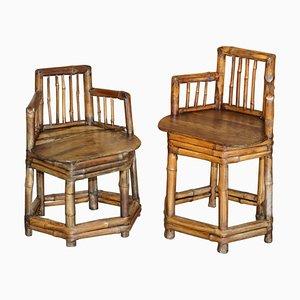 Chinesische Primitive Beistellstühle aus Bambus, 1800er, 2er Set