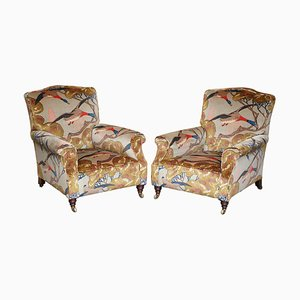 Victorian Flying Duck Upholstered Club Armchairs, Set of 2