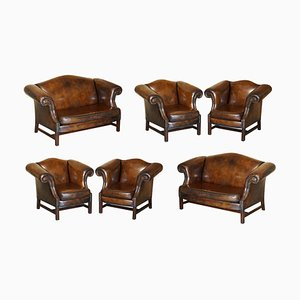 Hand-Dyed Brown Leather Seating Sofa & Armchairs, Set of 6